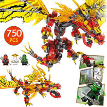 Ниндзяго Летающий Огненный Дракон Gold Edition Phantom Модель Совместимость Legoingly строительство DIY Блок Кирпич Игрушки для мальчиков