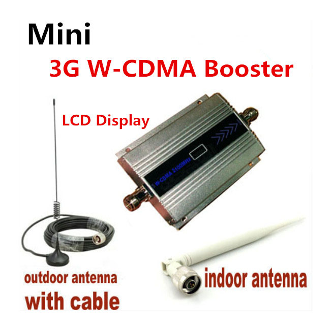 LCD Display !!! Mini W-CDMA 2100Mhz Signal Booster 3G Repeater WCDMA Signal Repeater 3G Cell Phone Amplifier + Cable + Antenna
