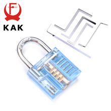 KAK Mini Transparent Visible Pick Cutaway Practice Padlock Lock With Broken Key Remove Hook Extractor Set Locksmith Wrench Tool axk transparent visible pick cutaway practice padlock lock with 12pcs blue broken key removing hooks lock locksmith tool