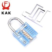 KAK Mini Transparent Visible Pick Cutaway Practice Padlock Lock With Broken Key Remove Hook Extractor Set Locksmith Wrench Tool цена