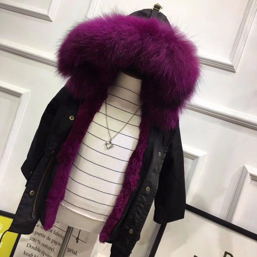 Meninas de inverno casaco de pele de coelho natural crianças jaqueta quente parkas real pele de guaxinim meninos meninas jaqueta tamanho 110-170 tz204