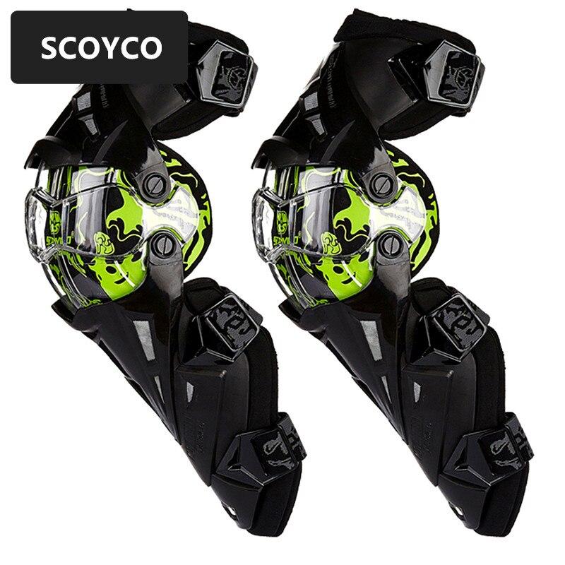 SCOYCO 1 paire Moto CE Genouillère Motocross Genouillères Moto Protection Genou Course Automobile Gardes de Sécurité Engrenages Course brace