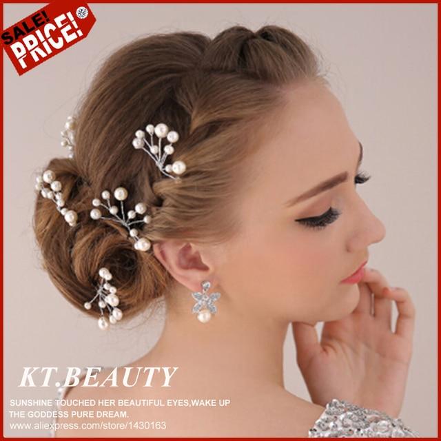 Vintage Handmade 5 Pecs Petal Hair Clips Short Hair Flower Bridal