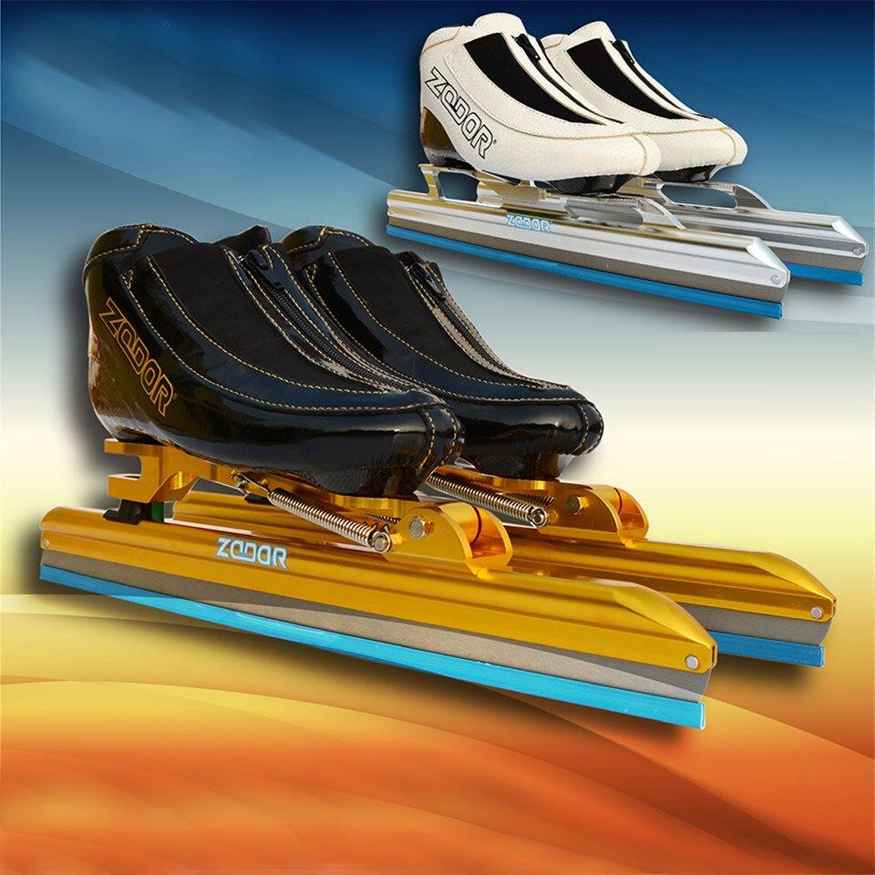 JEERKOOL patins à glace femmes patinage de vitesse patins à glace carbone/fibre de verre métal Fix Location couteau chaussures de course lame IC4