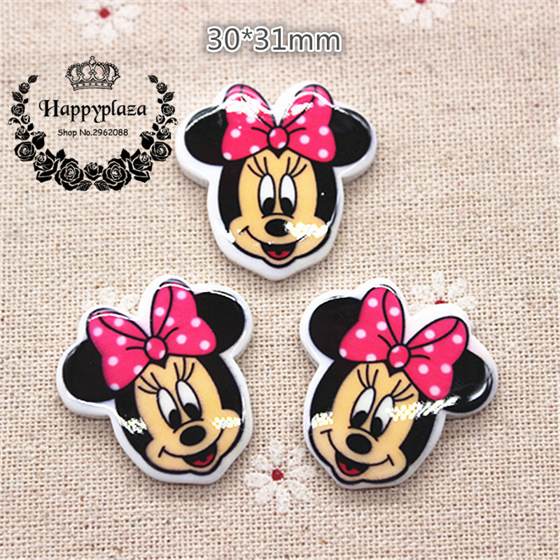 10pcs Kawaii Resin Minnie Mouse Flatback Cabochon DIY Hair Bow Center Scrapbooking Craft,30*31mm