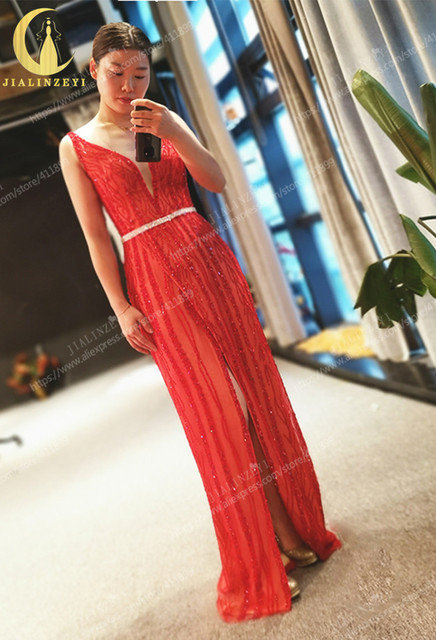 Rhine real Pictures Deep V Neck Sexy Full Beads Crystal red slit V Back Formal dress prom dresses arabic evening dresses long 1