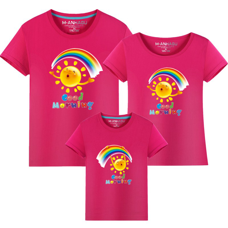 Summer Family Matching Outfits T shirt Mom Dad Son Daughter Rainbow T Shirts Family Mother Father Kids Matching outfits Tees (7)