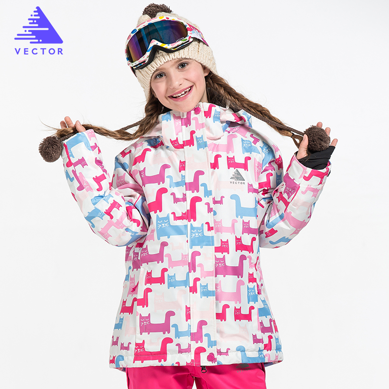 VECTOR Brand Girls Ski Jacket Warm Winter Skiing Snowboard Jackets Children Kids Windproof Waterproof Outdoor Coats HXF70014 marsnow children ski jacket boys girls warm winter skiing snowboard jackets child windproof waterproof outdoor kids snow coats
