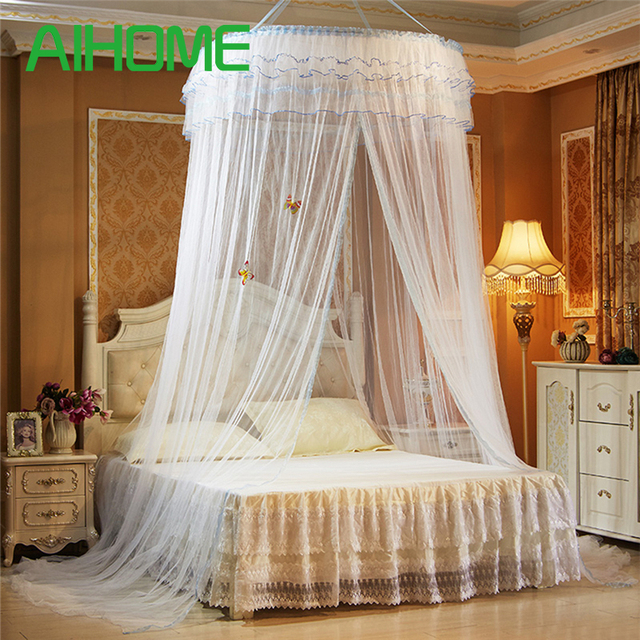 Hanging Round Dome Mosquito Net Luxury Princess Pastoral Lace Bed Canopy Crib Luminous Butterfly Mosquito Net : canopy mosquito net - memphite.com