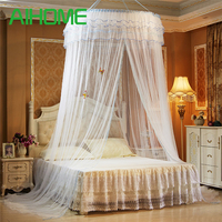 Hanging Round Dome Mosquito Net Luxury Princess Pastoral Lace Bed Canopy Crib Luminous Butterfly Mosquito Net (White)