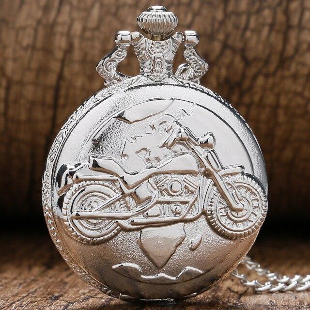 2016 New Silver Quartz Antique Pendant Chain Pocket Watch Motor CycleMotor Bike