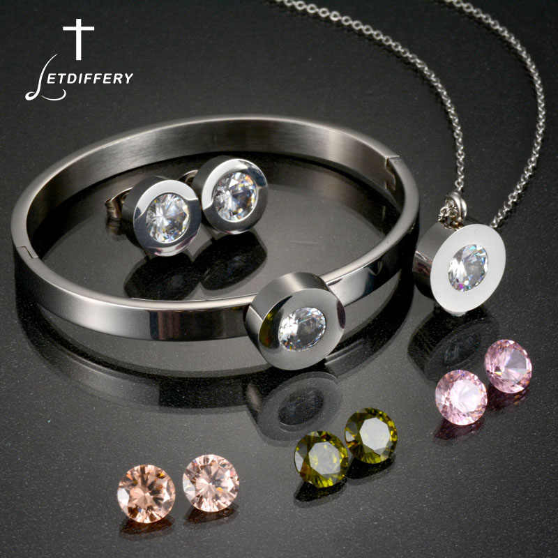 Letdiffery Hot Sale CZ Stone Engagement Wedding Jewelry Set Bague Femme Necklace Earrings Bracelets Set Drop Shipping