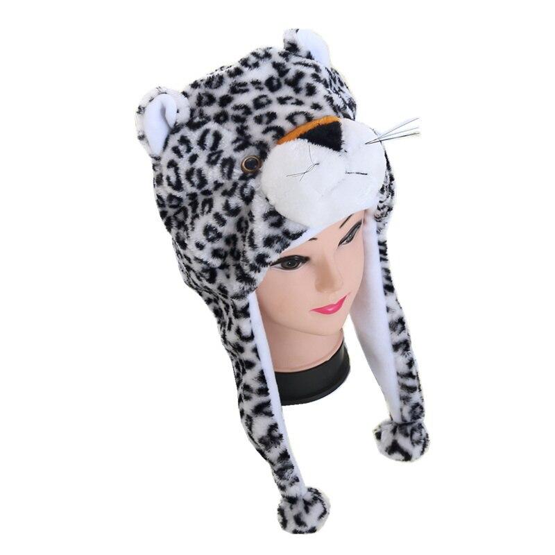 DOUBCHOW White Black Leopard Cute Plush Earflap Animal Hat for Boys Girls Kids Teenagers Adults Womens Mens Winter Warm Beanie