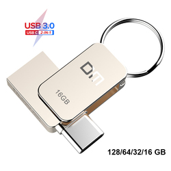 DM PD059 USB flash sürücü 3.0 USB C OTG Kalem sürücü 128 64 32GB Samsung S9 Artı Not 9 xiaomi Redmi5 Memory Stick PenDrive