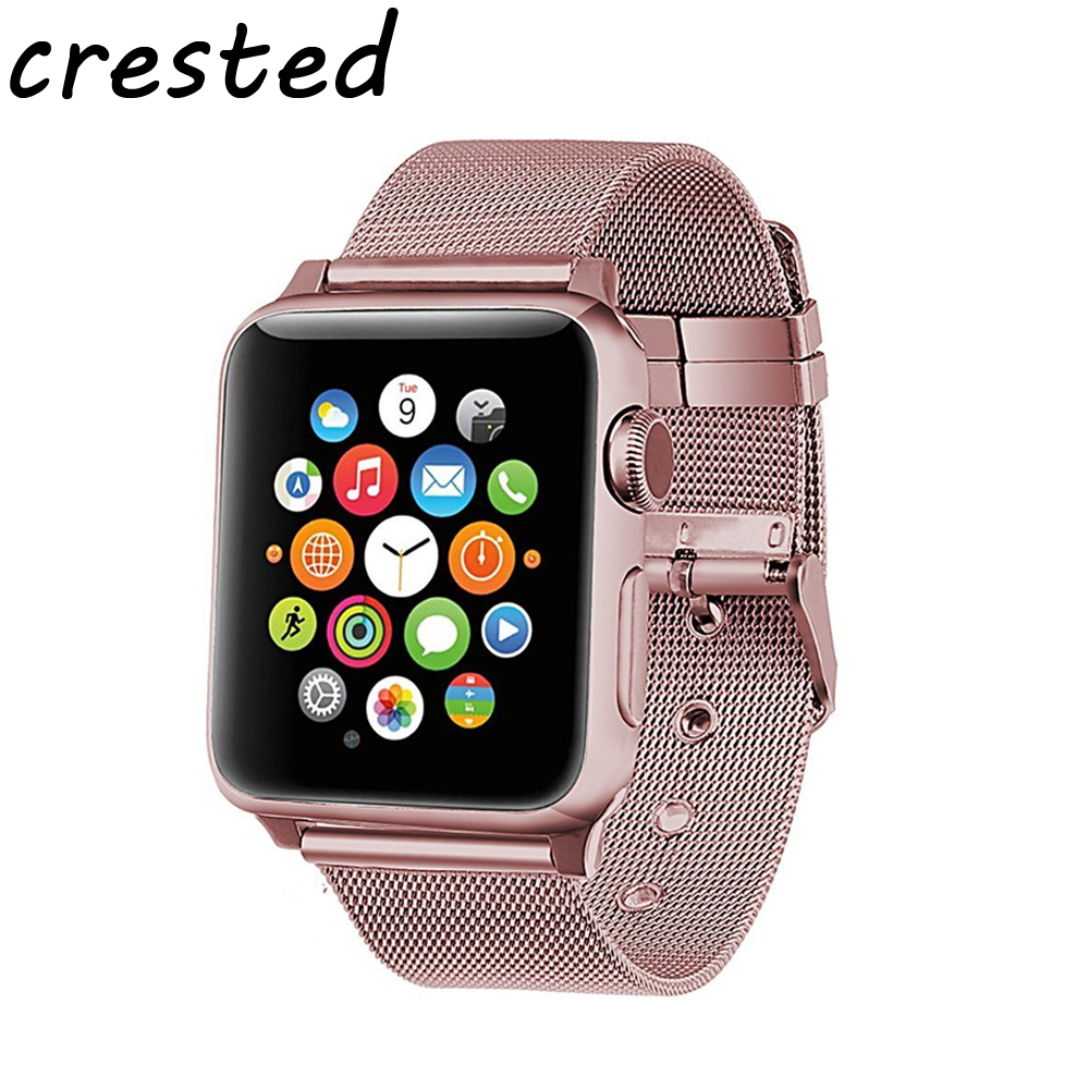 CRESTED sport milanese loop band for apple watch 3/2/1 42mm 38mm stainless steel link bracelet wrist watchband strap for iwatch milanese loop watch strap men link bracelet stainless steel woven black for apple watchband 42mm 38mm iwatch free tools