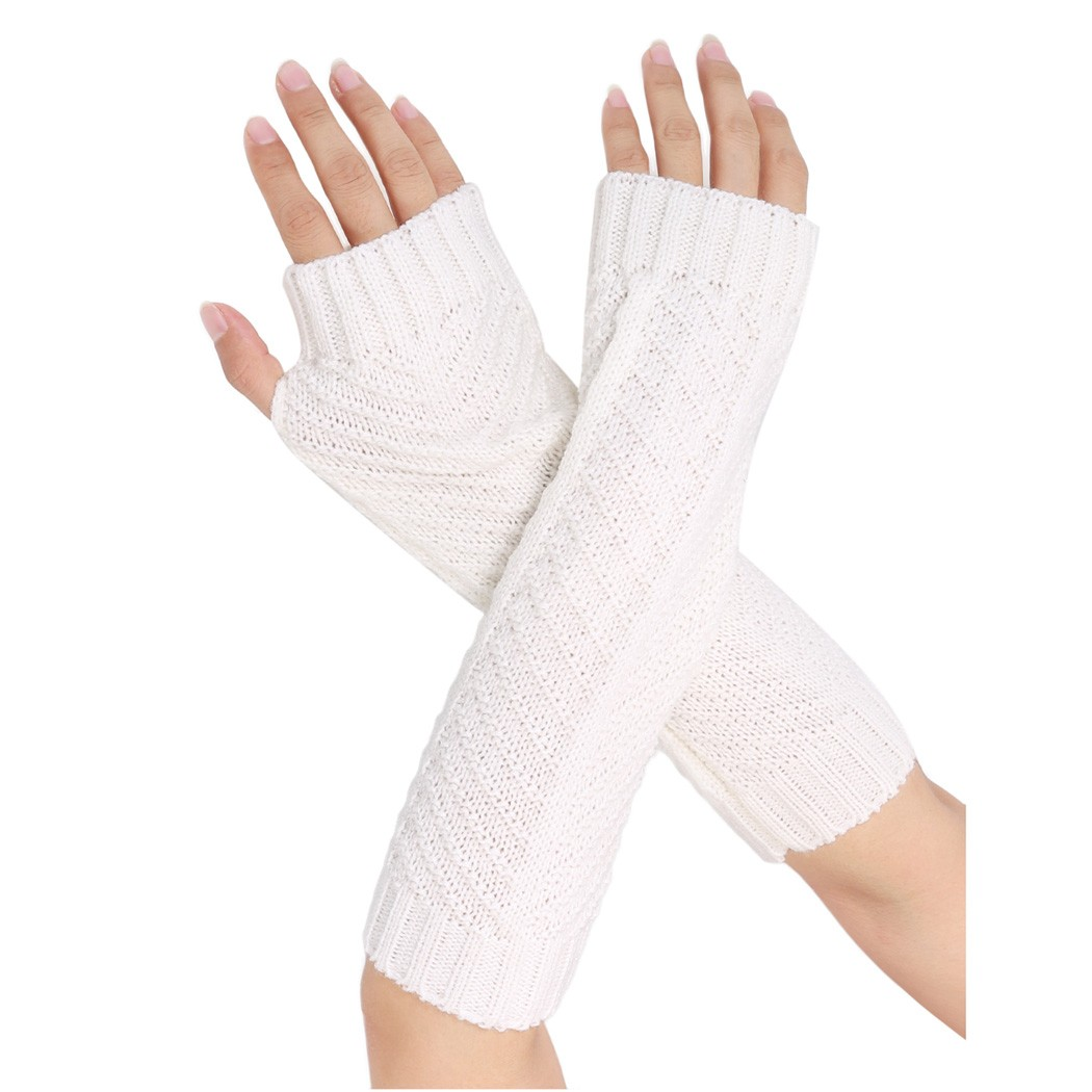 Fingerless gloves canada - Alishebuy New Women Winter Arm Warmers Half Finger Knitted Fingerless Gloves China Mainland