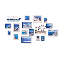 Mediterranean Style 17pcs/set Solid Wood Picture Frame Set Quality Wall Hanging Photo Frames for Home Decor