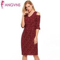 ANGVNS Women Ruffle Cold Shoulder Dress V Neck Flare Sleeve Vintage Floral Print Summer Dress Sexy