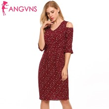 ANGVNS Women Ruffle Cold Shoulder Dress V-Neck Flare Sleeve Vintage Floral Print Summer Dress Sexy Slim Package Hip Sheath Dress