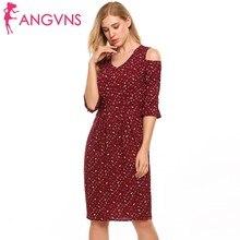 ANGVNS Women Ruffle Cold Shoulder Dress V-Neck Flare Sleeve Vintage Floral Print Summer Dress Sexy Slim Package Hip Sheath Dress