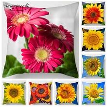 Fuwatacchi Sunflower Pillow Cover Red Yellow Cushion For Home Sofa Chair Bed Car Decorative Pillows