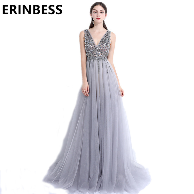 2019   Evening     Dress   Robe De Soiree Tulle With Beading A-line   Evening     Dresses   Vestido De Festa V-Neck Backless Party   Dress