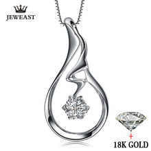 natural Diamond necklace Pendants Pure 18K Gold Jewelry Charm women Girl gift Elegant Fashion Angel Wings hot sale new good fine(China)