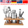 Cocktail Bar Set 350ml Professional Stainless Steel Cocktail Maker Jigger Ice Strainer Clip Spoon With Wood