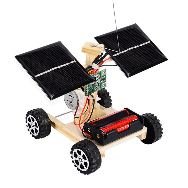 Assembly Rc Toys Diy Mini Wooden Car Wireless Remote Control Vehicle Model Diy Solar Car Kids Toy Science Educational Toy in RC Cars from Toys Hobbies