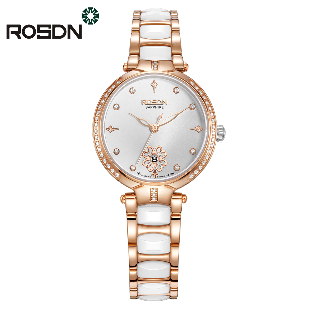 Luxury Brand ROSDN Quartz Watch Women Rose Gold Engraving Diamond Ceramics Waterproof Stainless Steel Ladies Wrist watch Montres miss fox role watches quartz women famous brand rose gold watch waterproof diamond stainless steel ar ladies luxury wrist watch