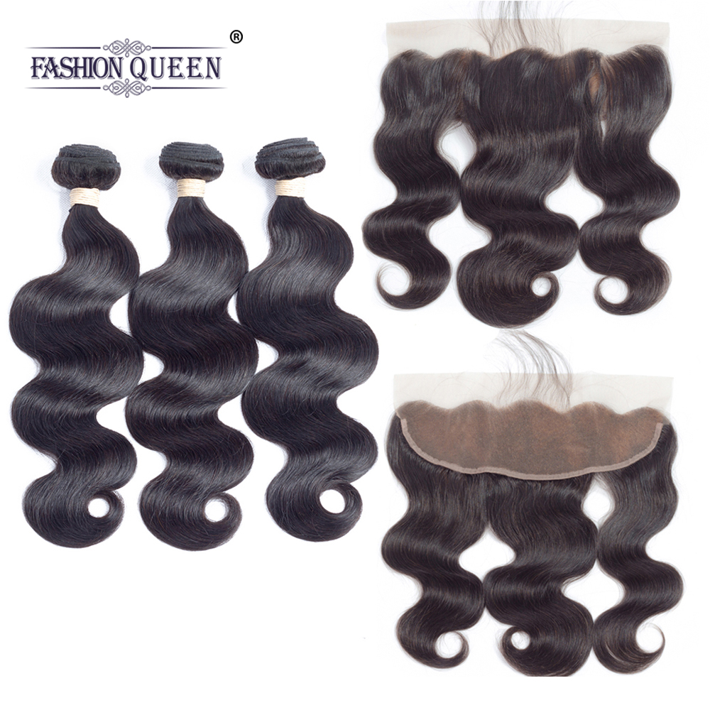 Fashion Queen hair 13x4 Lace Frontal Closure With Bundles Brazilian Body Wave Human Hair Bundles With Lace Closure 4Pcs/Lot