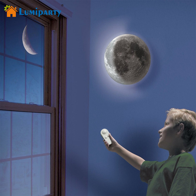 LumiParty Indoor LED Wall Moon Lamp With Remote Control Relaxing Healing Super Moon Night Lights for Art Room Kid Bedroom remote control moon wall lamp