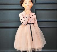 Hot 2016 Meninas de Bolinhas de Retalhos de Malha Vestido de Malha Crianças De Cintura Alta Bonito Vestido de Princesa Crianças Vestido de Festa de Manga Longa