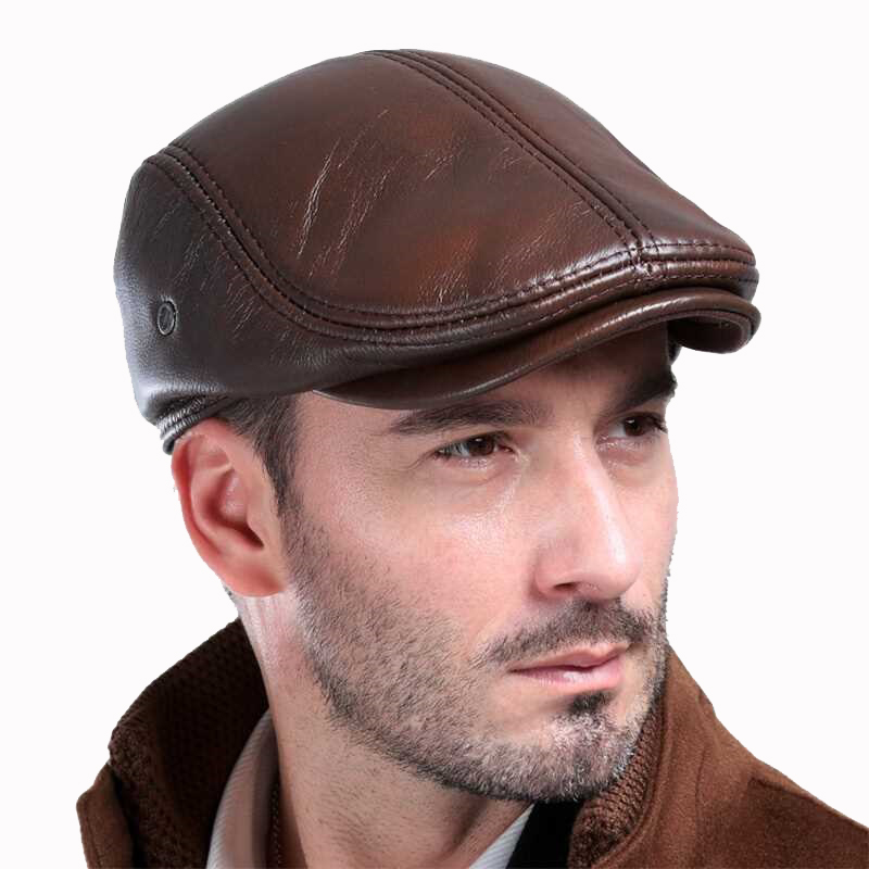 Mens outdoor leather hat winter Berets male warm E