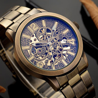 Shenhua Retro Big Dial Watch Men Automatic Mechanical Skeleton Watches Vintage Bronze Hollow Wristwatch Luxury Brand 2019 New