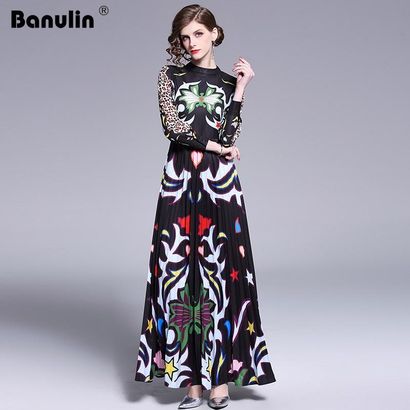 Banulin 2019 Runway Long Maxi Dress Women High Quality Charming Floral Long Sleeve Patchwork Elegant Vintage Floor Length Dress