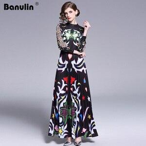 Image 1 - Banulin 2019 Pist Uzun Maxi Elbise Kadınlar Yüksek Kalite Büyüleyici Çiçek Uzun Kollu Patchwork Zarif Vintage Kat Uzunluk Elbise