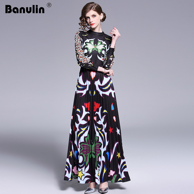 Banulin 2019 Runway Long Maxi Dress Women High Quality Charming Floral Long Sleeve Patchwork Elegant Vintage Floor Length Dress