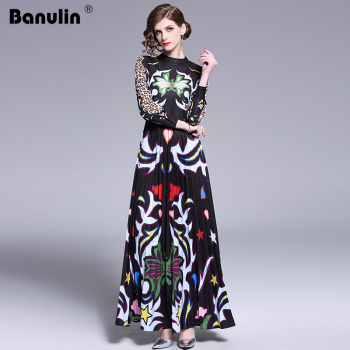 Banulin 2019 Runway Long Maxi Dress Women High Quality Charming Floral Long Sleeve Patchwork Elegant Vintage Floor Length Dress banulin summer runway designer bow neck pleated dress women lace patchwork floral print elegant holiday midi dress vestidos