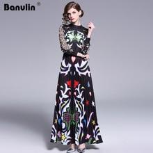 Banulin 2019 Runway długa sukienka w dużym rozmiarze kobiet wysokiej jakości uroczy kwiatowy z długim rękawem Patchwork elegancka sukienka w stylu Vintage, długość podłogi sukienka