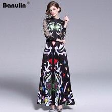 Banulin 2019 pasarela largo Maxi Vestido Mujer alta calidad encantador Floral de manga larga Patchwork elegante Vintage vestido largo hasta el suelo