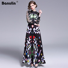 Banulin 2019 מסלול ארוך מקסי שמלת נשים באיכות גבוהה מקסים פרחוני ארוך שרוול טלאים אלגנטי בציר אורך רצפת שמלה