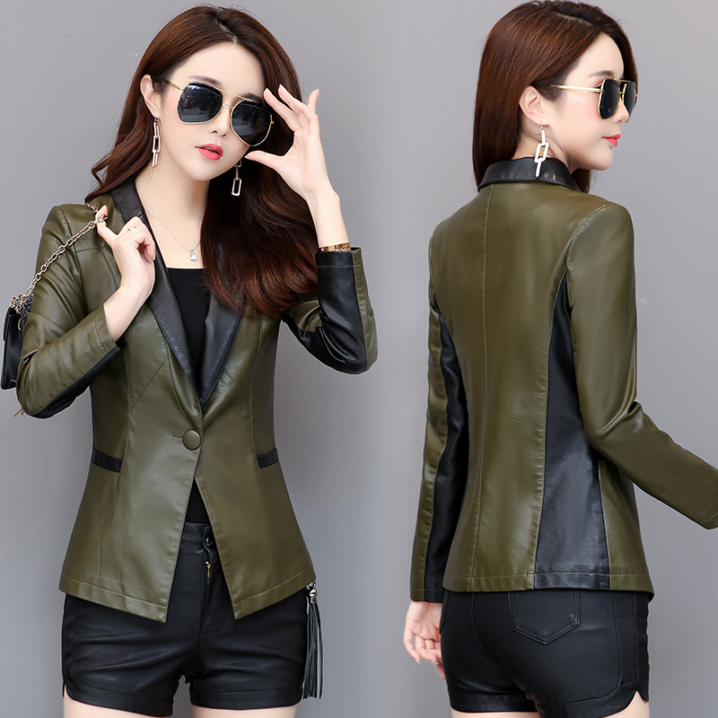 SWREDMI 2019 New Slim Women Blazer Spring Autumn   Leather   Coat Female One Button Suit   Leather   Jacket Plus Size 3XL