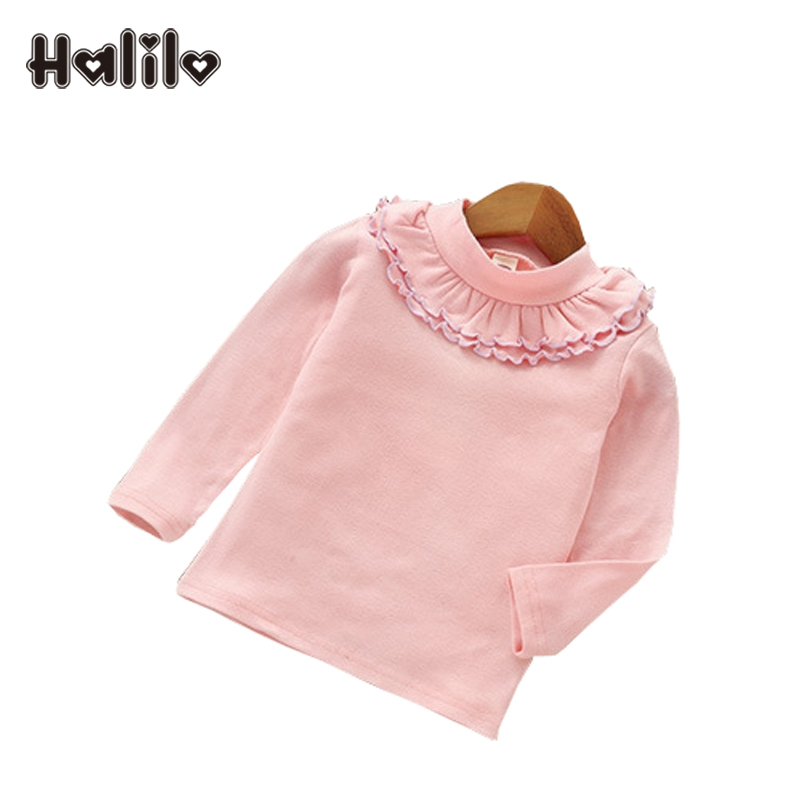 c548d08a40305b Halilo Girls Long Sleeve Tshirts O-Neck Solid Color Baby Girl Tshirt Spring  Autumn Girl Tops Tees Fashion Kids T Shirt For Girls