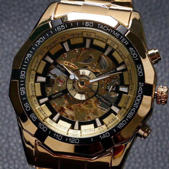 Forsining relógios antigos relógios mecânicos de esqueleto dos homens de luxo da marca homens de aço inoxidável banda de ouro relógio de pulso dos homens w18050