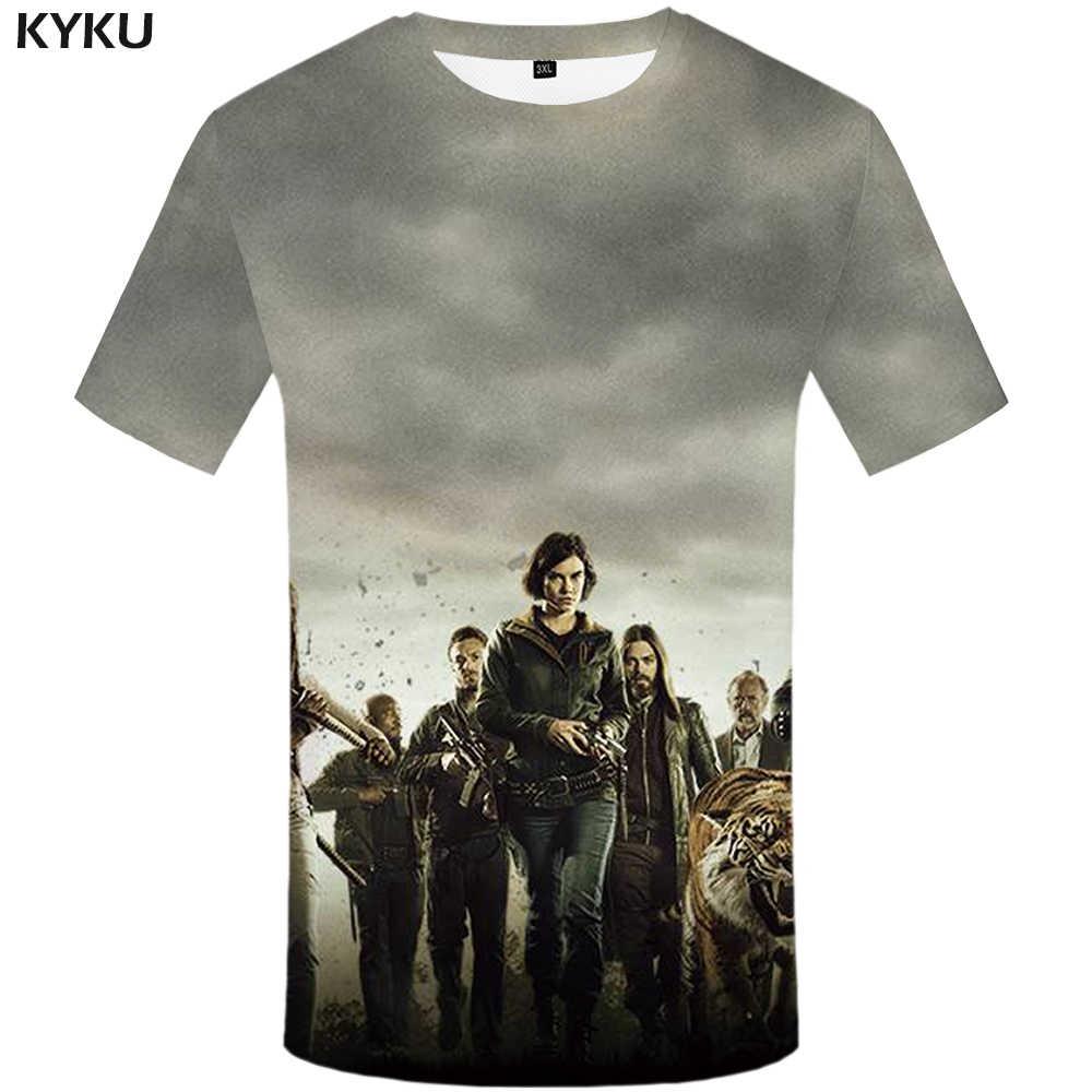 KYKU/брендовая футболка с 3d принтом «Ходячие мертвецы», футболка Вэнь, уличная одежда в стиле хип-хоп, Забавные футболки, летняя мода 2018, новинка