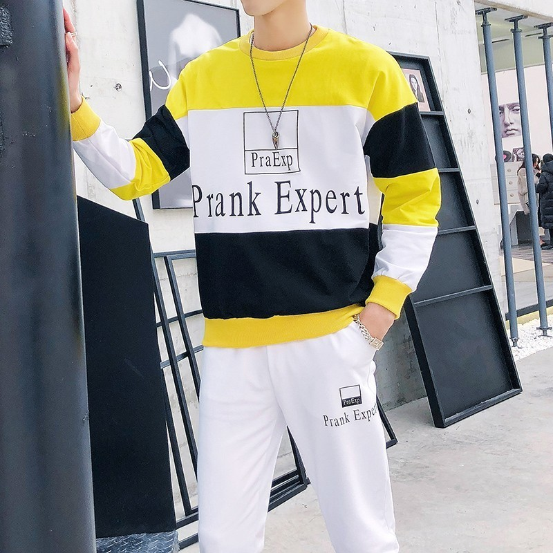Fashion Splice Contrast Color Long Sleeve T Shirts+Pant Ropa Hombre Autumn Sport Mens Track Suit Set Hip Hop Tracksuit Men Sets
