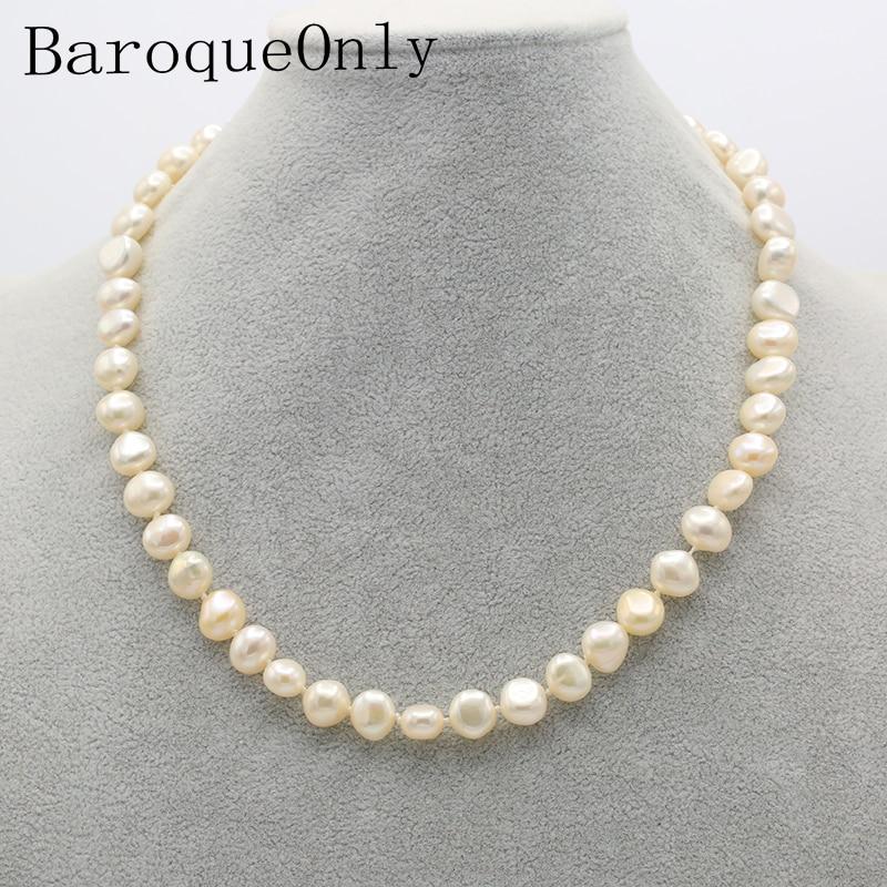 Halsketten Baroqueonly Geometrische Süßwasser Perlen Colliers Halskette Weiß Blau Grau 9-10mm Natürliche Perlen Decration Schmuck Geschenke Für Mutter Hitze Und Durst Lindern.