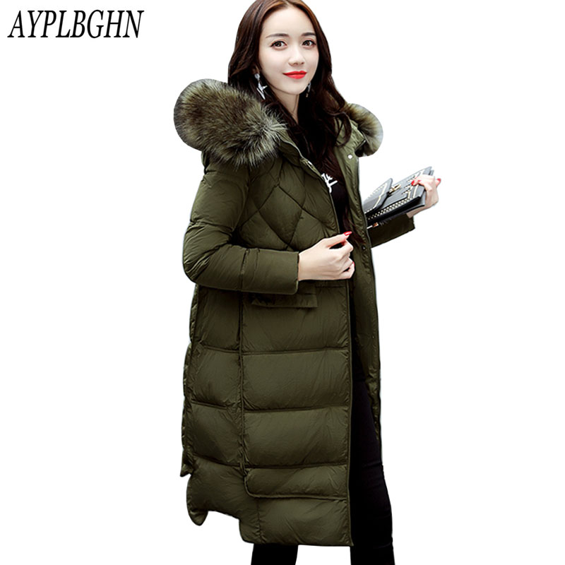 2017 New Large Fur Collar Winter Coats Women Slim Thick Warm Cotton Parkas Ladies Medium-Long Hood casaco feminino inverno 7L43 2017 new famale down cotton coats women winter warm large fur hooded parkas girls medium long thick slim winter jackets cm1704