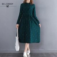 2017 Women Autumn Mori Girl Maxi Long Dress Stand Collar Corduroy Green Vestidos Long Sleeve High